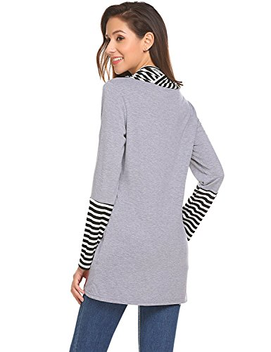 Manica Shirt Collo Maglietta Banda O Autunno T Casuale Tops Maglia Shmily e Camicetta Girl Grigio Lunga Primavera Donna C0qnFRw