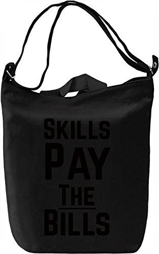 Skills pays Borsa Giornaliera Canvas Canvas Day Bag| 100% Premium Cotton Canvas| DTG Printing|