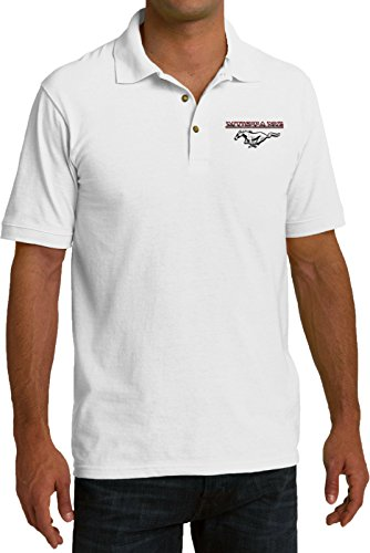 Mens Ford Polo Mustang Pocket Print Pique Polo Shirt, White, Medium