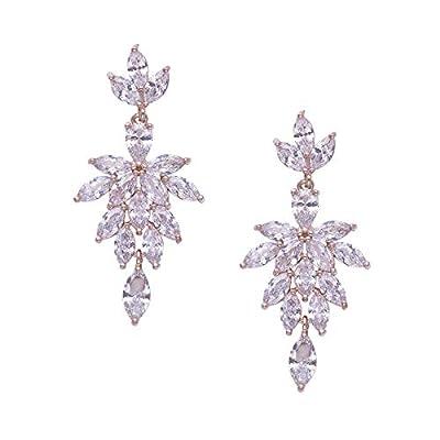 SWEETV Cubic Zirconia Rhinestones Chandelier Earrings for Wedding,Bridal,Pageant,Prom-Drop Dangle Earrings for Women Brides Bridesmaids