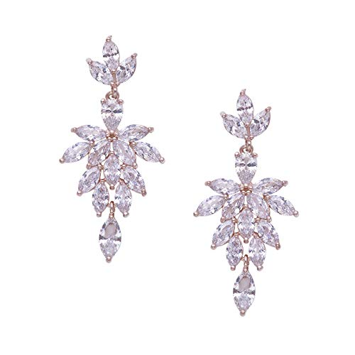 SWEETV Cubic Zirconia Rhinestones Chandelier Earrings for Wedding,Bridal,Pageant,Prom-Rose Gold Drop Dangle Earrings for Women Brides Bridesmaids