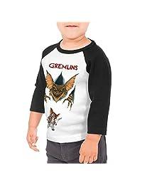 PaulineD Children's Gremlins 3/4 Sleeve Raglan Baseball Tshirts for Girls & Boys Black
