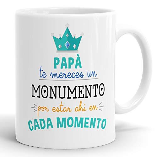 REGALOS ESTRELLA AZUL Taza dia del Padre Regalo para Papa, Papa te Quiero, al Mejor papa del Mundo, Regalos Padres, Regalos dia del Padre, Taza con Frases (Papa te mereces un Monumento)