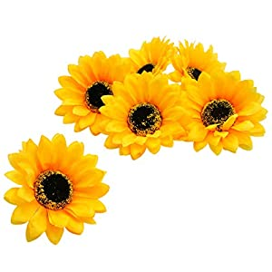 WSSROGY Set of 30 Artificial Sunflowers Fake Small Flower Heads Wedding Party Flowers Accessories 3.93.9Inches 67