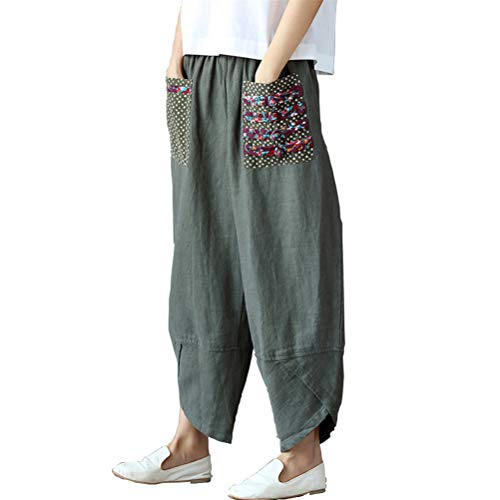 Helisopus Womens Baggy Casual Trousers Cotton Linen Loose Harlan Pants Elastic Waist,Green,Tag 2XL=(US ()