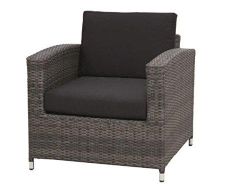 Siena Garden 255185 Lounge Sessel Chicago, aluminium-Gestell, Geflecht grau inklusive Kissen schwarz