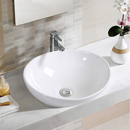 Giantex Oval Bathroom Basin Ceramic Vessel Sink Bowl Vanity Porcelain w/Pop Up Drain Contour Single Bowl Bathroom Vanity