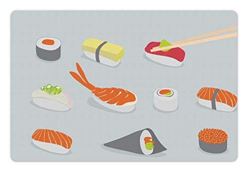 Ambesonne Sushi Pet Mat for Food and Water, Oriental Asian Snacks as Nigiri Maki and Tobiko Rolls in The Style of Flat Design, Rectangle Non-Slip Rubber Mat for Dogs and Cats, Multicolor ()