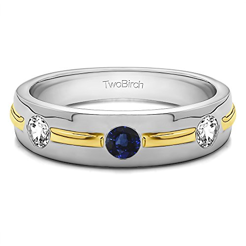 10k TwoTone Gold Gents Wedding Ring Diamonds(G,I2) and Sapphire(0.35Ct) Size 3 To 15 in 1/4 Size Intervals