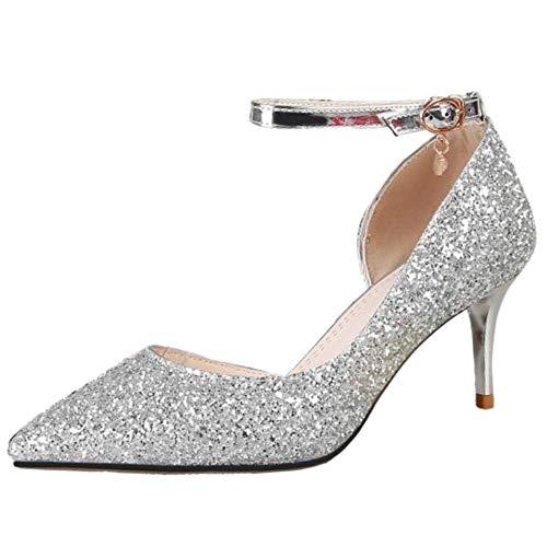 Alla Con Scarpe Karzi Tacco Silver Da Caviglia Alto Classico Cinturino 6cm Pompe Donna Sposa Kaizi vWS1qRUwR