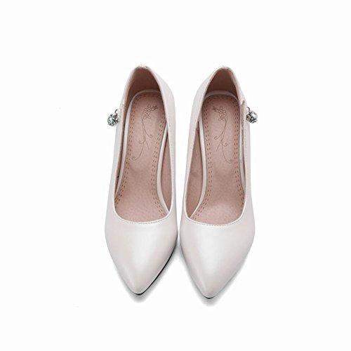 ... Mee Shoes Damen High Heels Strass ohne Verschluss Pumps Weiß ...