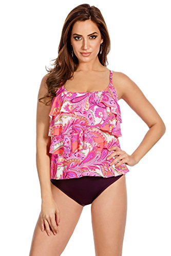 (Miraclesuit Women's Persian Gardens Tiering up Tankini Top Multi Swimsuit Top)