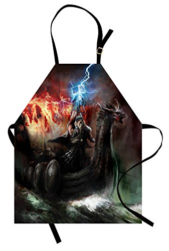 Ambesonne Fantasy World Apron, Thunder Wrath in Viking Thorn Ship Floating in Fiery Waves Odin Narrative, Unisex Kitchen Bib with Adjustable Neck for Cooking Gardening, Adult Size, Orange Grey (An Artist Of The Floating World Themes)