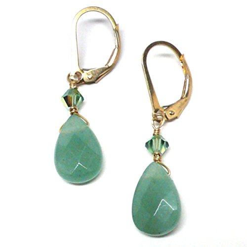 olette Gold-Filled Lever Back Earrings Swarovski Crystal Custom (Handcrafted Artisan Austrian Crystal)