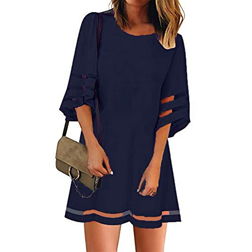 Panel Shift Dress - OVYNSZ Women Casual Crewneck Mesh Panel 3/4 Bell Sleeve Loose Shift Dress (Navy Blue, Large)