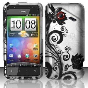 (BLACK VINES HARD PLASTIC RUBBERIZED DESIGN CASE HTC INCREDIBLE 4G LTE (VERIZON) [In AccessoryAid Retail Packaging])