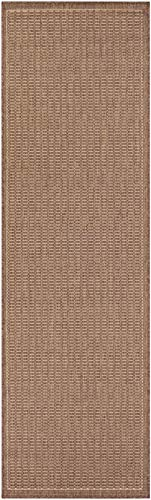 Couristan 1001/1500 Recife Saddle Stitch Runners, 2-Feet 3-Inch by 11-Feet 9-Inch, Cocoa