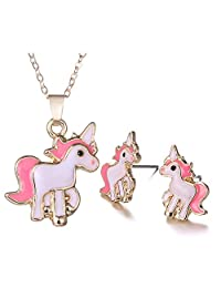 FANSING Jewelry Gold Plated Animal Unicorn Bees Pendant Necklace and Stud Earrings for Women & Girls