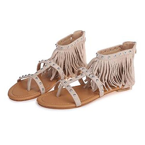 Juleya Women Summer Sandals Ladies Flat Heel Tassels Sandals T Bar Zipper Ankle Heels Peep Toe Shoes Beige poMPbdp