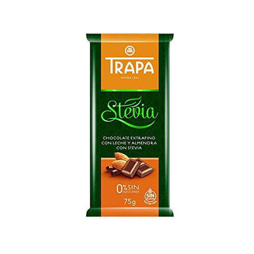 Amazon.com : Trapa Chocolates Stevia Milk Chocolate Bar with Almonds, 2.64 Ounce (Pack of 35) : Grocery & Gourmet Food