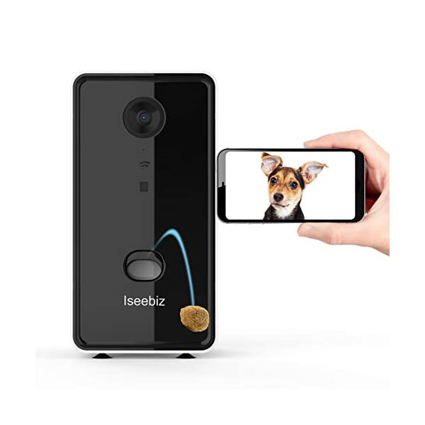 Iseebiz Smart Pet Camera, Wireless Treat Dispenser, See Talk Listen, WiFi Pet Monitor, 2 Way Audio, Live Video, Remote…