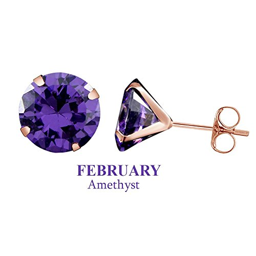 Christmas Sale 10k Rose Gold 5mm Round Simulated Amethyst Stud Earrings