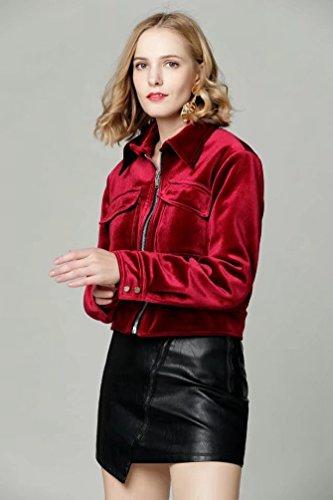 Larga Otoño Mujer Chaqueta Rojo Casual Cremallera Calentar Manga Abrigo Chaqueta Terciopelo YAANCUN Moda Invierno pgt6qSz