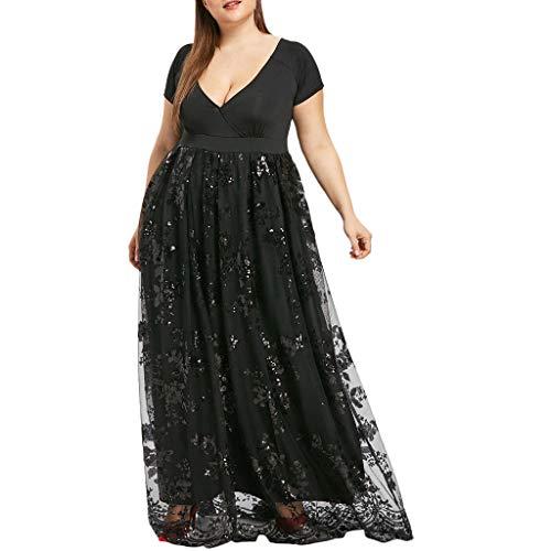 OldSch001 Women Plus Size Dresses,v-Neck Short Sleeve Floral Lace Sequined Evening Party Mesh Flowy Dress(Black,XXXXXL)