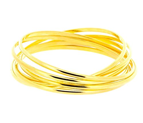 Ben and Jonah Stainless Steel Gold Plated Set of Seven Interlocked Lady's Bangles - Semanario ()
