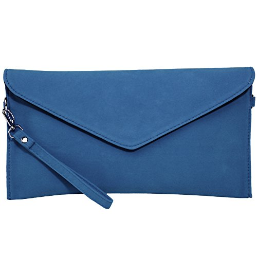 Envelope Bolsos Funda Ante Clutch Kormei Azul Mujer Party Pu 4qwppx