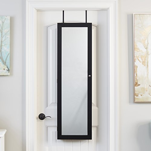 FirsTime & Co. Mirrored Jewelry Armoire, Black