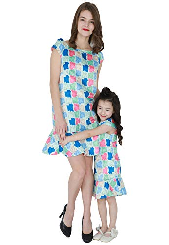 (OMZIN Family Clothes Mommy and Me Boho Chevron Dress Blue)