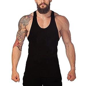 Acecharming Men's Workout Tank Top Stringer Bodybuilding Gym Shirt Vest Y Back Gray
