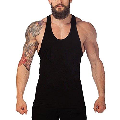 Tank tops, Acecharming Men Fitness Bodybuilding Gym Shark Stringer Y Back Tanks