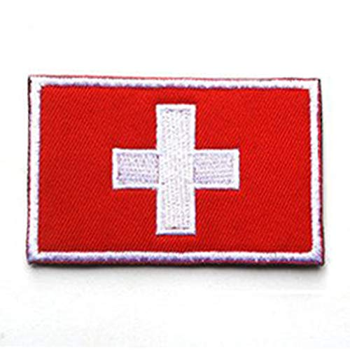 ShowPlus Switzerland CH Flag Military Embroidered Tactical Patch Morale Shoulder Applique