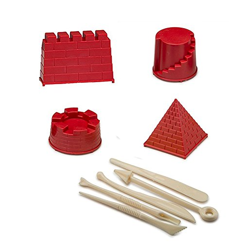 Castle Sand Kit Moon (Alasida Advanced Kinetic Sand Building Molds and Tools Kit- 4 Pieces Includes: Bricks walls Molds and Tools for Magic Sand - Use With Any Play Sand)