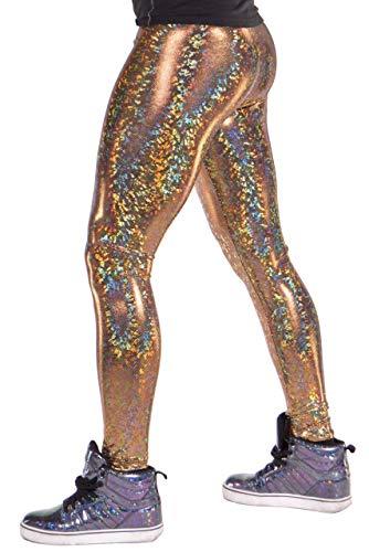72f872a714 Disco Ball Holographic Men's Leggings Music Festival Meggings (Gold, Medium)
