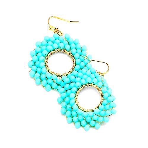(Women's Chic Aqua Beads Beaded Cluster hoop Dangling Gold Bohemian Fashion Blogger Earrings )