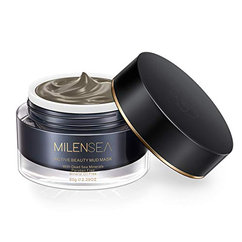 MILENSEA Active Beauty Mud Mask, Professional Dead Sea Mud Mask for Face, Acne, Blackheads, Oily Acne-Prone Skin - Deep Cleansing, Detoxifying & Exfoliating for Younger Looking Skin - 2.29 oz ()