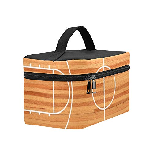 Basketball Court Parquet Lunch Box Tote Bag Lunch Holder Insulated Lunch Cooler Bag For Women/men/picnic/boating/beach/fishing/school/work