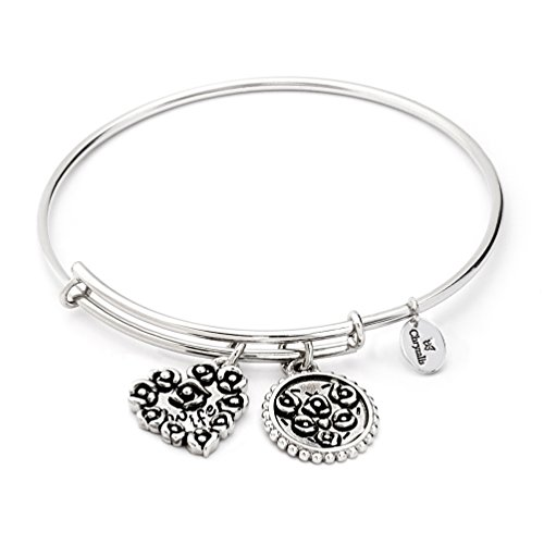 - Adjustable Antique Love Heart Wife Message Hanging Charm Bangle Bracelet for Women, Oxidized Silver