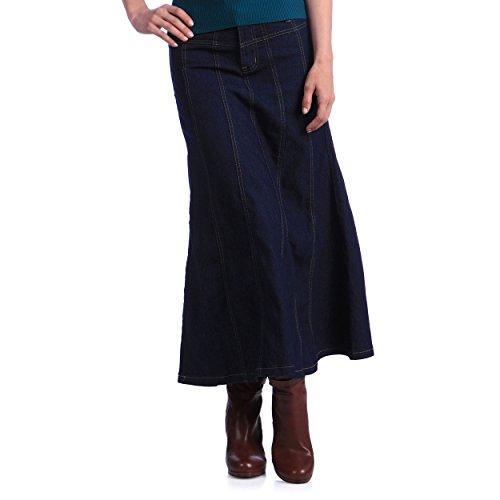 Tabeez Women's Plus Size Flared Long Denim Skirt with Paneling (2XL, Dark Indigo)