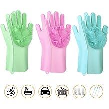 Scrubbing Gloves - 3Pair Magic Saksak - Reusable Silicone Cleaning Gloves Dishwashing Scrubber with Bristles Scrub Gloves for Kitchen, Bathroom, Washing Car, Dish Washing, Pet Hair Care and More