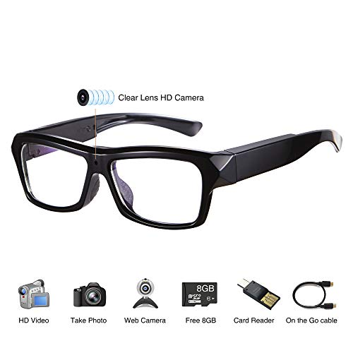 Video Glasses - HD Camera Glasses with 32GB Memory Card - Eye Glasses with Camera - Wearable ()