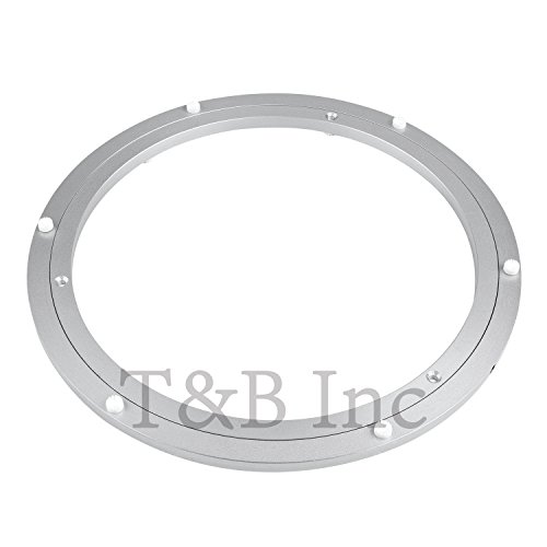 T&B 12 Inch Diameter Aluminum Metal Lazy Susan Hardware Rotating Turntable Bearings Swivel Plate 300mm Silver Turntable on Dining-table ()