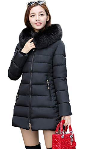 Magike Vtement Femme Automne Hiver Chaud Epais Manteau Coton Doudoune Longue Noir