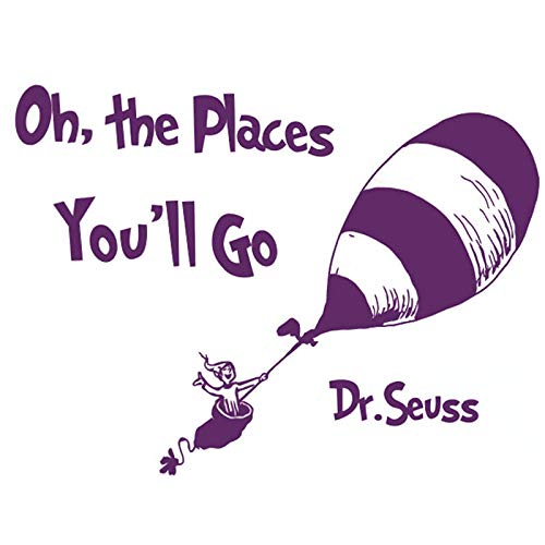 Boodecal Dr. Seuss Quote Sign Series Wall Decals - Oh, The Place You Will Go - Balloon Travel Decoration Vinyl Lettering Stickers Inspiring Words Wall Decor For Bedroom Living Room Classroom