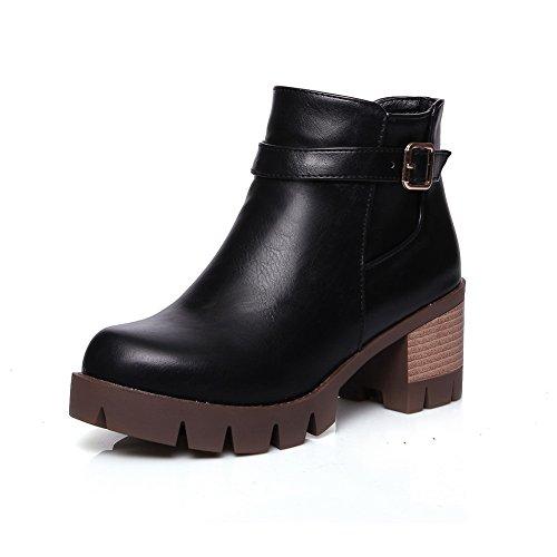 Balamasa Mujeres Studded Rhinestones Metal Hebillas Square Heels Imitated Leather Botas Black