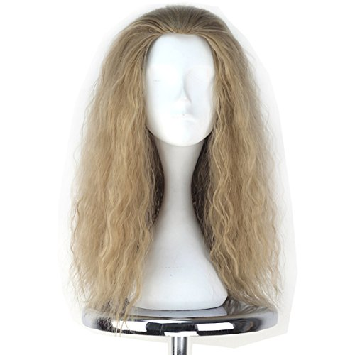 Miss U Hair Decent Long Curly Ash Blonde Hair Men Party Movie Cosplay Costume -