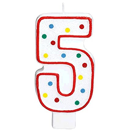 Amscan Party Perfect Flat Molded Multicolored Polka Dot Number 5 Celebration Candle White 5quot